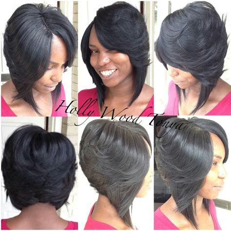 layered bob sew in hairstyles for black women for older women 17 best images about invisible part weave on pinterest