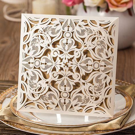 Laser Cut Wedding Invitations by Graceful Ivory Shimmery Laser Cut Wedding Invitations