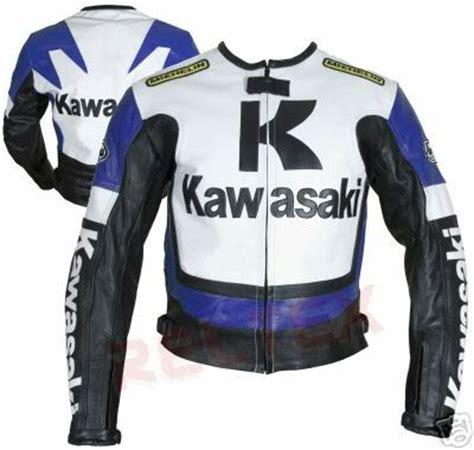 Motorrad Lederjacke Blau Wei by Kawasaki R Motorrad Blau Wei 223 Und Schwarz Farbe Lederjacke