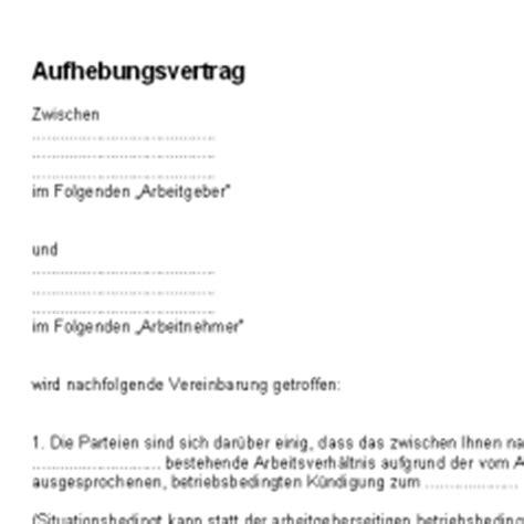 Schreiben Aufhebungsvertrag Muster Aufhebungsvertrag Deutsche Anwaltshotline
