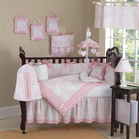 baby girl nursery bedding set pink and white french toile baby crib bedding 9pc girl