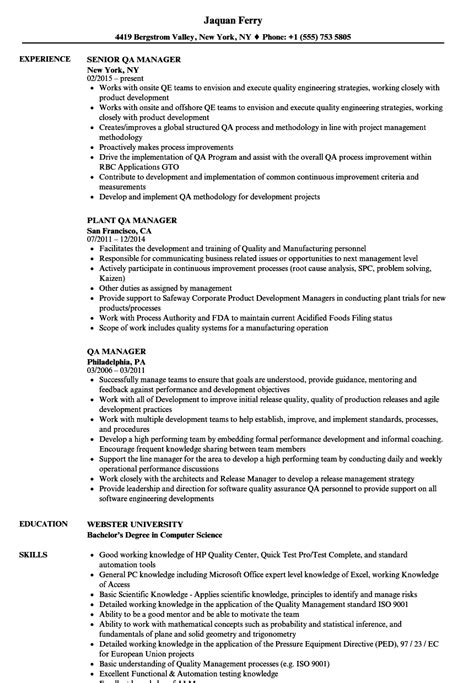 Qa Manager Resume by Qa Manager Resume Sles Velvet