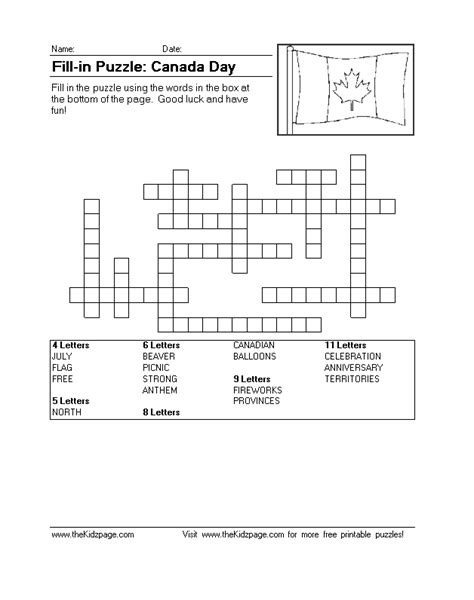 printable puzzle of canada fill in puzzle canada day free printable learning