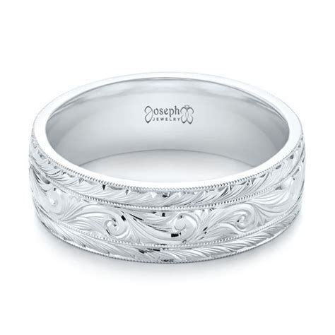 Custom Hand Engraved Men's Wedding Band #103458   Seattle