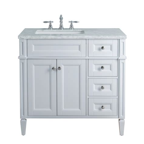 36 In Bathroom Vanity With Top Stufurhome 36 In White Single Sink Bathroom Vanity With Marble Vanity Top And