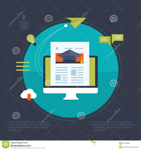 online education illustration flat design illustration flat design modern vector illustration icons set stock