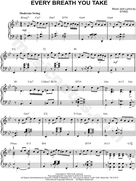 the every breath you take testo the quot every breath you take quot sheet piano
