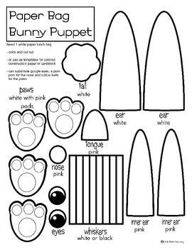 paper bag bunny template bunny paper bag puppet coloring or template easter theme