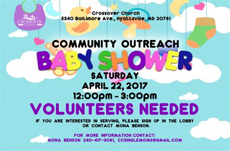 Community Baby Shower by Community Outreach Baby Shower Crossover Church