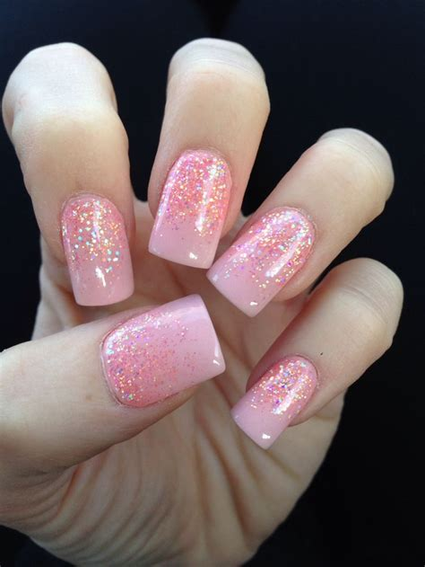 solar nails pink solar nail with glitter fade design my nancy at