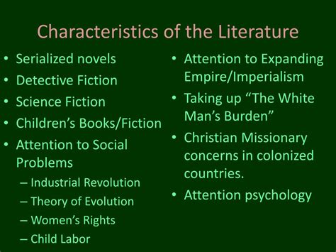 literature characteristics ppt the era 1832 1901 powerpoint presentation