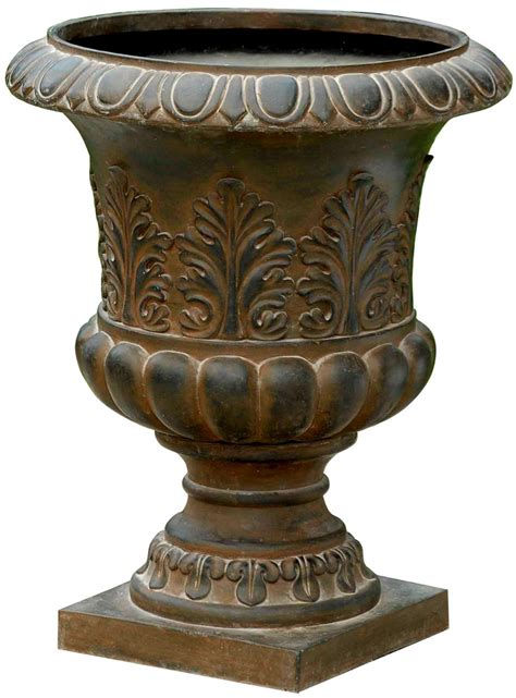 rustic urn planter in outdoor planters