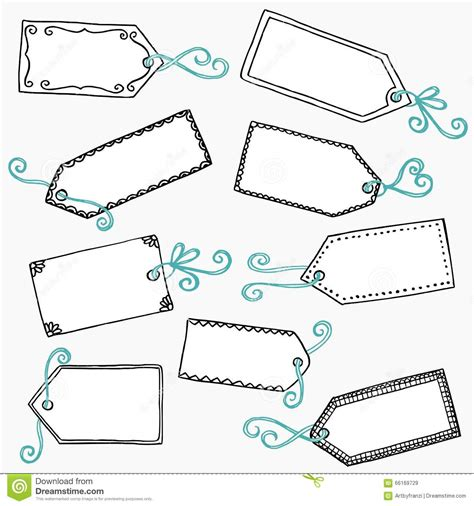 doodle name tags doodle price tags or gift labels stock vector