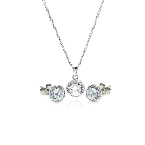 sterling silver stud earring and necklace set ssts00359
