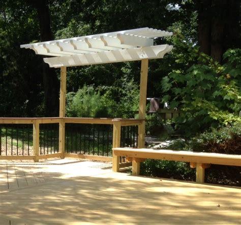wood deck with pergola deck and pergola combinations custom decks porches patios sunrooms and more