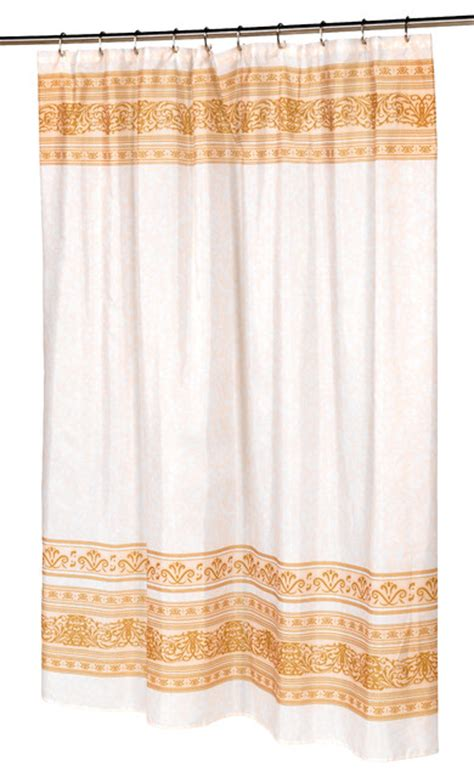 gold fabric shower curtain quot fleur quot fabric shower curtain in gold contemporary