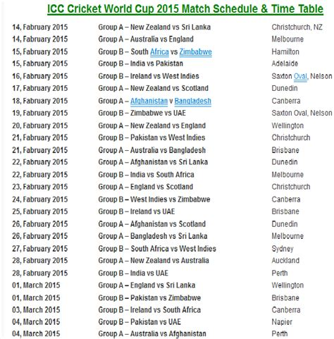 Icc World Cup 2015 Time Table by Search Results For World Cup Cricket Time Table2015