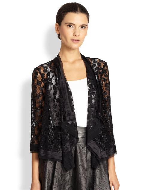 draped jackets milly draped lace jacket in black lyst