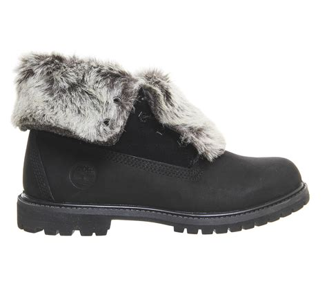 timberland boots with fur timberland fur fold boots in black save 15 lyst