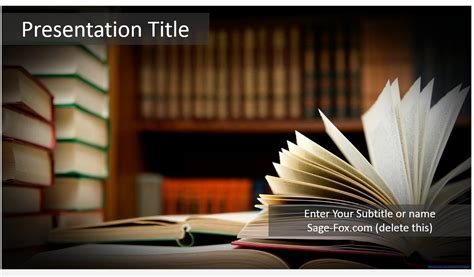 Free Books Powerpoint Template 5825 Sagefox Powerpoint Templates Powerpoint Book Template