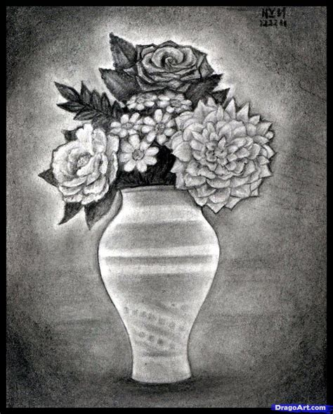 Drawing Flowers In A Vase by Pencils Sketches Of Flower Vase Pencils Sketches