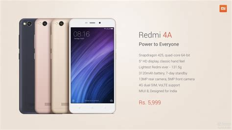 Samsung Redmi 4a xiaomi launches redmi 4a in india gsmarena news