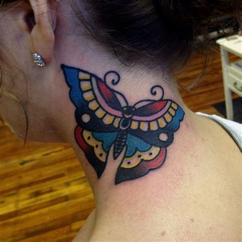 neck tattoo easy neck tattoo simple traditional butterfly tattooimages biz