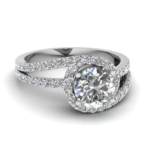 Twisted Band Engagement Ring - split band twisted halo vintage engagement