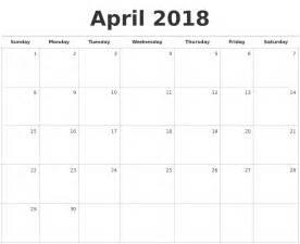 Calendar 2018 Pdf Monthly April 2018 Blank Monthly Calendar