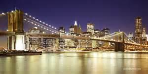 Brooklyn bridge new york city skyline lower manhattan night scene high