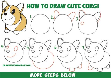 how to draw a step by step easy how to draw a corgi kawaii chibi easy step by step drawing tutorial