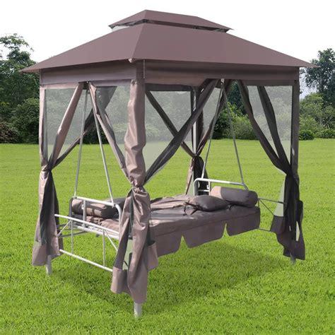 gazebo swing luxury outdoor gazebo swing chair sunbed coffee vidaxl