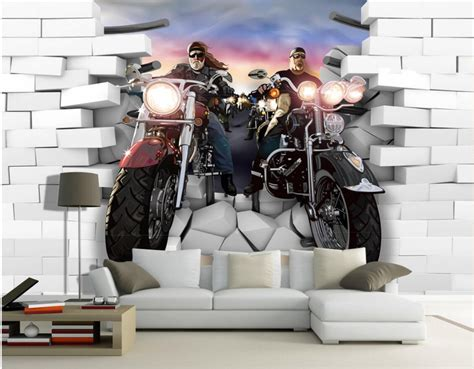 room wallpaper custom mural  woven photo motorcycle