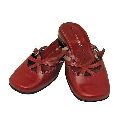 west deep red leather nicolas cutout mules  size   euc ebay