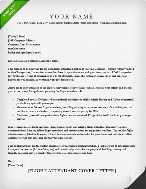 cover letter for airlines flight attendant cover letter sle resume genius