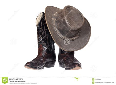 leather cowboy boots and hat royalty free stock photos
