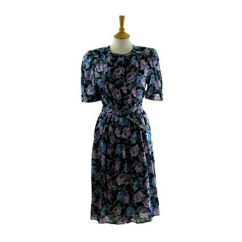 80s floral 80s floral multicoloured dress blue 17 vintage fashion