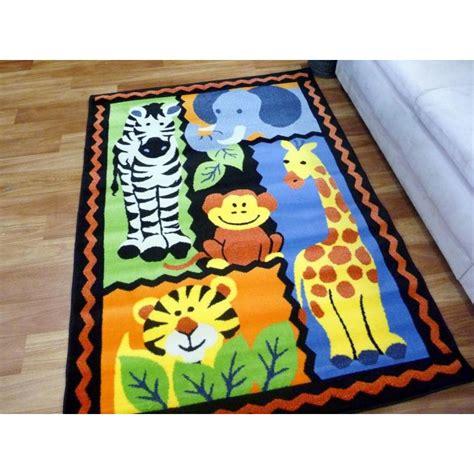 Jungle Animal Friends Kids Area Floor Rug Playmat Rainbow Jungle Rugs