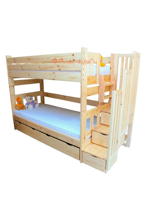 Unfinished Bunk Beds Solid Pine Wood Bunk Bed With Stairs For 3 Persons Enrique 3 200x90 Cm