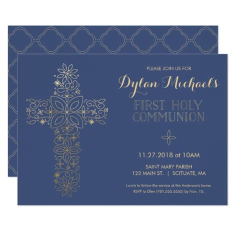 first holy communion invitation first communion invitation first holy communion invitation gold cross invite