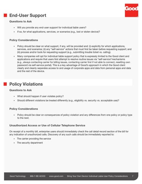 byod policy template byod policy sle 1 for free page 7 formtemplate