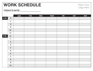 5 Work Schedule Templates Excel Xlts 7 Day Weekly Work Schedule Template