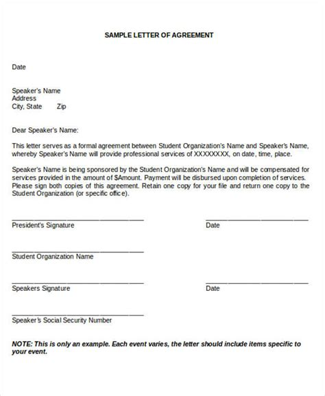 Agreement Letter Of Contract Agreement Letter Formats