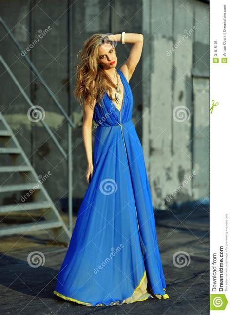 Dress Model Blue Fashion Impor fashion model posing wearing blue evening dress stock photo image 31815106
