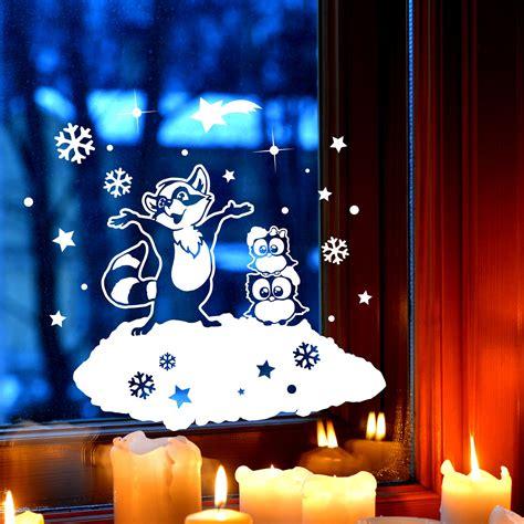 Fensterbilder Weihnachten Selbstklebend Sterne by Fensterbild Eulen Waschb 228 R Fensterdeko Winterlandschaft