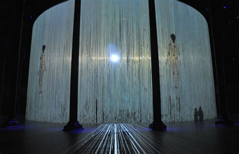 call curtains ron arad s 360 degree installation curtain call opens at