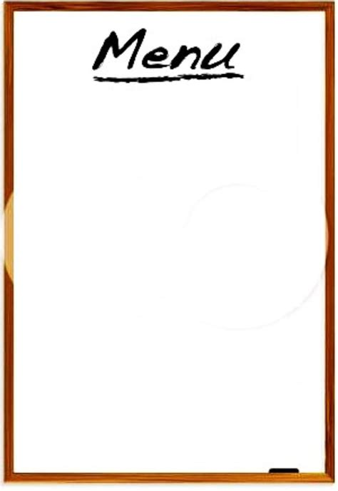 blank food menu template restaurant menus blank clipart best
