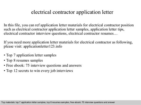 Introduction Letter Electrical Contractor Electrical Contractor Application Letter
