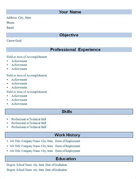 Simple Professional Resume Template by Simple Resume Template 46 Free Sles Exles