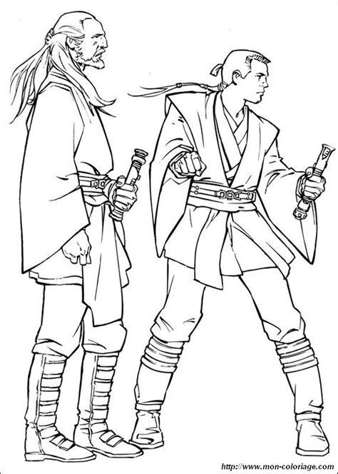 coloring star wars page qui gon jinn with obi wan kenobi